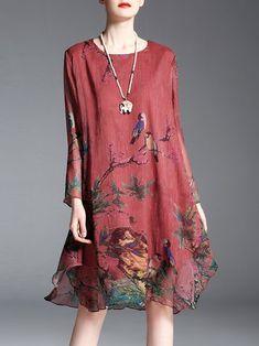 Asymmetrical Plus Size Animal Print Long Sleeve Vintage Midi Dress