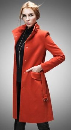 8f76be1c92eeb Buluos Queen Stylish Single-breasted Slim Long Coat for Womens (Small, Dark  Orange) Buluos. $136.00