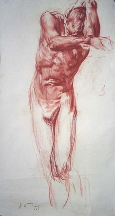 Nikolai Blokhin {semi-nude male anatomy drawing}