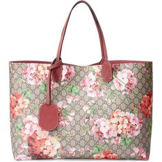 Gucci Reversible Gg Blooms Leather Tote ($1,380) ❤ liked on Polyvore featuring bags, handbags, tote bags, rose, gucci tote bag, gucci handbags, gucci tote, floral tote and leather tote purse