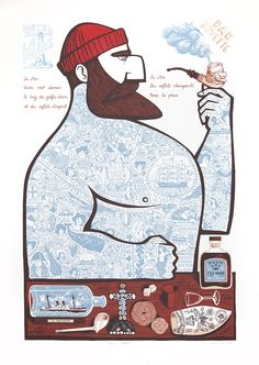 'Marin Tatoué' by Paul Bommer (screen print)