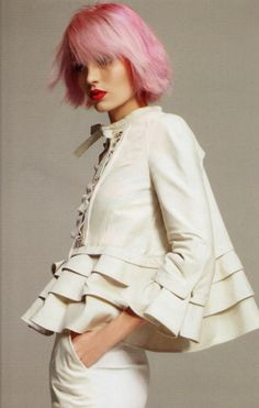 calivintage:    What's Next, photographed by Glen Luchford for Harper's Bazaar March 2011.  LOVE the whole look right down to the pink hair!! The Clothes Horse: Slow Buds The Pink Dawn