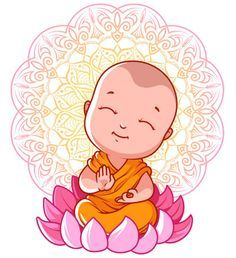 Little meditating Buddha on the lotus. Vector cartoon illustration on a white background. Buddha Meditation, Buddha Buddhism, Buddha Drawing, Buddha Painting, Baby Buddha, Little Buddha, Buddha Kunst, Buddha Art, Indian Gods