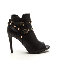 BLACK Edgy 'N Chic Strappy Studded Booties ($34) ❤ liked on Polyvore featuring shoes, boots, ankle booties, ankle boots, black, high heel stilettos, peep-toe booties, peep toe booties, black peep toe bootie and black ankle boots