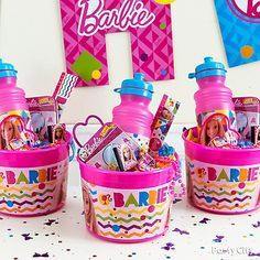 Shop for Barbie Party Supplies, birthday decorations, party favors, invitations, and more. Barbie Party Decorations, Barbie Theme Party, Barbie Birthday Cake, 5th Birthday Party Ideas, Third Birthday, Birthday Favors Girls, Bolo Barbie, Barbie Cake, Party Packs