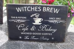 Kitchen Witch, Kitchen Decor, Halloween Kitchen, Kitchen Ideas, Wiccan Decor, Primitive Wood Signs, Bakery Cafe, Bakery Sign, Sign Maker