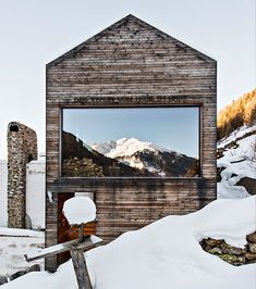 upknorth: reconstructed mountain chalet built on the ruins of a stone alpine farm in the South Tyrol mountains. Complete with hanging fireplace and irreplaceable alpine views. via up knörth. Photo by Christian Shaulina Architecture Durable, Residential Architecture, Architecture Design, South Tyrol, Mountain Homes, House In The Woods, Exterior Design, House Design, Building