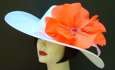 "Ivory 6"" Brim Derby Hat/Orange Poppy"