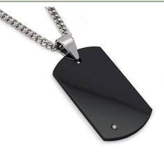 Men s Black Tungsten Carbide Dog Tag with Diamond 22″ Steel Curb Link Chain  by Metal 2c2faa9471