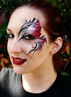 Christina Davison - Red and White Eye Design Face Painting