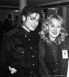 "Michael Jackson and Meryl Streep backstage at the ""Bad"" Tour ~ 1987"