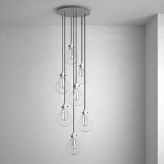 The XXL Ceiling Rose with 7 holes allows you to design your own striking pendant lamps. You can match your lamps with the lampshade or bulb cage of your choice. Ceiling Rose, Wind Chimes, Pendant Lighting, Colours, Lights, Cover, Outdoor Decor, Design, Home Decor