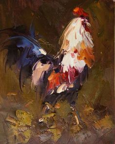 fighting rooster painting