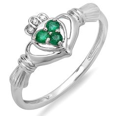 0.13 Carat (ctw) 10K Gold Round Green Emerald