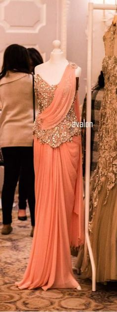 Peach Jazz For orders/queries email at clothing.dahlia@ or message on insta or FB Indian Fashion Trends, Indian Designer Outfits, Designer Dresses, Fashion Brands, Stylish Sarees, Stylish Dresses, Fashion Dresses, Indian Wedding Outfits, Indian Outfits