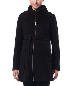 MOMO Maternity Momo Black Ava Wool-Blend Belted Maternity Coat | zulily