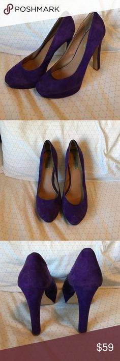 Steve Madden Beasst Pump Dark Purple Suede. Used but in excellent condition. Thick heel with platform. Super comfortable. Steve Madden Shoes Heels