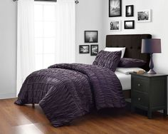 Your purple...pinzon PURPLE 4-Piece Ruched Duvet Cover/ Duvet Insert Twin, Full, Queen, King #CozyBeddings #Pinzon
