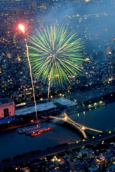 Sumidagawa Fireworks Festival, Tokyo, Japan. I miss all the summer fireworks festivals around Tokyo..... Mmmmmmm and the street food!