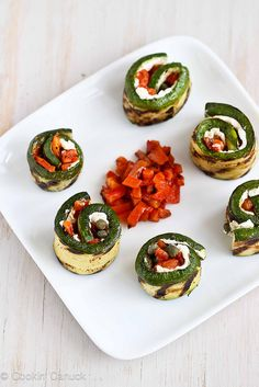 Grilled Zucchini Roll Recipe with Goat Cheese Roasted Peppers and Capers