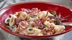 Grilled Calamari, Grilled Squid, Seafood Recipes, Cooking Recipes, Rustic Italian, Big Bowl, Fish And Seafood, Pasta Salad, Grilling