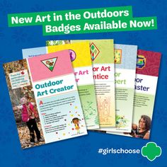 The new #girlschoose Art in the Outdoors badges are available in the shop! Requirement packets are available for order.   Previous outdoor badges for all levels are also available.   Badges - $2.00 each Requirement Packets - $2.50 each