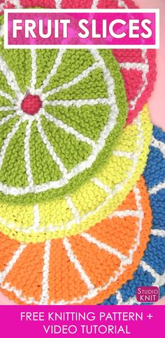 So summery and pretty! Learn How to Knit Fruit Citrus Slices with Easy Free Pattern + Knitting Video Tutorial with Studio Knit. Knitted Dishcloth Patterns Free, Knitted Washcloths, Easy Knitting Patterns, Knitted Blankets, Knitting Projects, Crochet Dishcloths, Crochet Patterns, Circular Knitting Needles, Arm Knitting