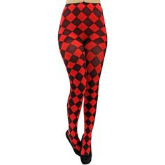 Red & Black Jester Diamond Harlequin Tights ($18) ❤ liked on Polyvore featuring intimates, hosiery, tights, leg wear, leotard leggings, harlequin tights, elastic stocking, diamond pattern tights, patterned tights and red stockings
