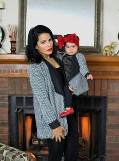 Black and white cardigan sweater wrap, an open front style matching set to make a gorgeous mother and daughter outfit. The sleeves are folded to make cuffs. Mom sizes available: XS, S, M, L  Care Instructions: Hand wash and tumble dry low. Mother Daughter Matching Outfits, Mommy And Me Outfits, Girls Summer Outfits, Toddler Girl Outfits, Mother Daughters, Mothers, Toddler Dress Patterns, Black And White Cardigans, Baby Girl Sweaters