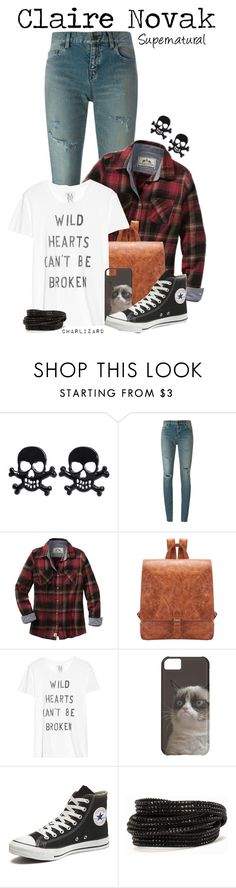 """""""Claire Novak"""" by charlizard ❤ liked on Polyvore featuring Yves Saint Laurent, Zoe Karssen, Converse and Pieces"""