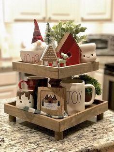 Rae dunn Christmas tier tray tier tray decor Gingerbread Christmas Decor, Christmas Crafts, Christmas Decorations, Holiday Decor, Christmas Christmas, Farmhouse Christmas Decor, Rustic Christmas, Farmhouse Decor, Cake Stand Decor