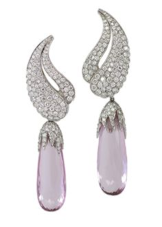 """Pink Sapphire and Diamond Ear Clips by Harry Winston. """"Talk to me Harry Winston, tell me all about it."""""""