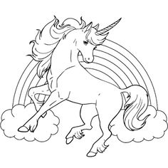 Unicorn Horse With Rainbow Coloring Page For Kids