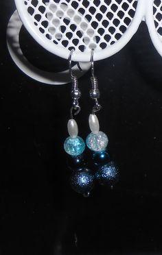 Blue, aqua, and white handmade earrings