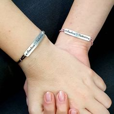 Set of 2 Personalized Engraved Name Bracelets, Matching Leather Bar Bracelets for Couples, His and Hers, Name and Heart Couples Gift Couple Bracelets, Name Bracelet, 2 Set, Cartier Love Bracelet, Couple Gifts, Bangles, Bar, Chain, Couples