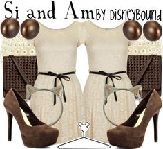 """""""Si and Am"""" ~ Inspired by Disney's menacing duo from the Lady and the Tramp, comes this Spring/Summer casual look. Designed by Leslie Kay or also known as the designer of Disneybound outfits. Can be found on Polyvore or her personal shop or tumblr account."""