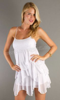 Ruffles Ties In Back Short Spaghetti Strap Empire Waist Off The Shoulder White Prom Dress