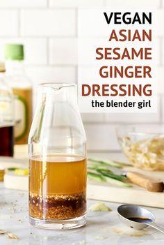 This easy vegan asian sesame ginger salad dressing takes minutes to make in your blender.