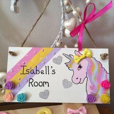 Hand Painted Personalised Unicorn Bedroom Plaque by ElegantFancies