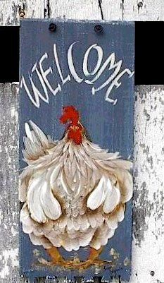 Welcome Chicken Sign hand painted country rustic folk art. $20.00, via Etsy.