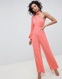 75f9188753 ASOS DESIGN Jumpsuit With Embroidery And One Shoulder Jumpsuits For Sale