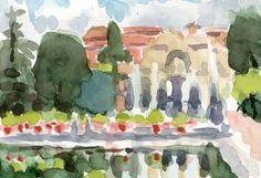 Anthony Lombardi Villa D'Este 01 Tivoli watercolour on paper 2014 18 x 12,5 cm