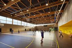 Idea Secondary school, sport hall and cultural center by Chartier Dalix in Lille, France Secondary School, Primary School, Elementary Schools, Gym Design, School Design, Urban Design, Gym Architecture, Architecture Collage, High School Pictures