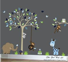 Children wall decals tan tree wall decal vinyl decal tree wall navy, blue, green and beige. $135.00, via Etsy.