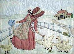 Ideas embroidery baby quilts squares for 2019 Hand Applique, Applique Patterns, Applique Quilts, Applique Designs, Embroidery Applique, Quilt Patterns, Quilting Projects, Quilting Designs, Sue Sunbonnet