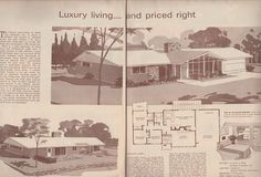 Floor plan for a mid-century ranch home. American Home magazine, 1958