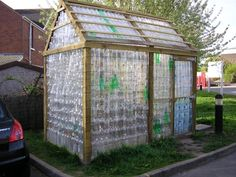 Plastic bottle greenhouse. My afterschool program is starting this process for its community garden at OMS.