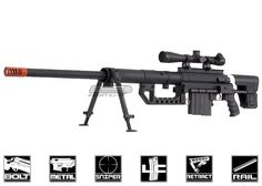 SOCOM Gear Full Metal Cheytac M200 Gas Powered Bolt Action Sniper Rifle Airsoft Gun ( Black )