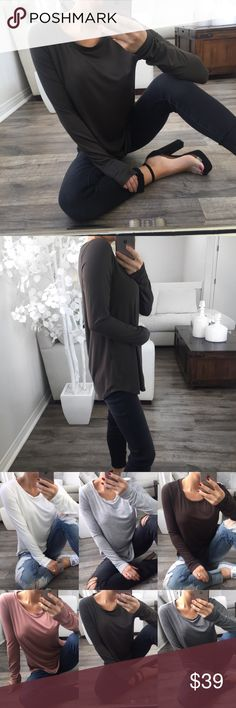 """LAST// STAPLE Dark Olive Round Neck LS ✨BUYERS FAVORITE✨ Previously sold in every color! A must have classic & everyday staple item. Incredibly soft, stretchy and has a cooling feel to the fabric. Great for layering or wear it alone for a effortless casual look!   Modeling: Small Material: Bamboo Viscose & Spandex Measurements(S): 18""""Pit to Pit 26""""Length   •You may purchase directly through this listing• Tops Tees - Long Sleeve"""