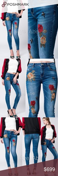 """Sexy distressed skinny jeans trendy New sexy skinny  denim jeans embroidered and embellished with beads needlework  5- pockets, Light washed jeans, stretchy and skinny . Regular waist. Super Sexy and trendy denim skinny jeans pants bottom trousers with flower embroidery. Fabric :cotton, polyester, viscose and elasthanne.   M/8 waist 30"""", hips: 36"""", Rise 9"""", inseam: 28"""".  L/10 waist 32"""", hips: 38"""", Rise 9"""", inseam: 28"""". ‼price is firm‼ Jeans Skinny"""